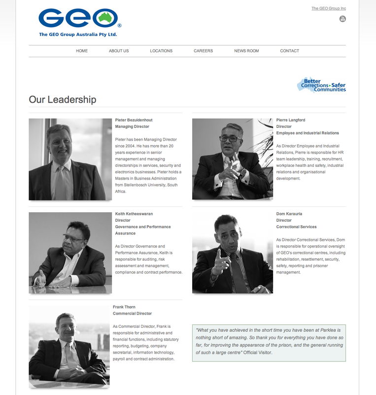GEO Group Australia Corporate Structure website page